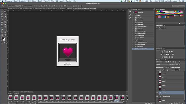 Im Photoshop kann man ganz leicht animierte Cover erstellen.
