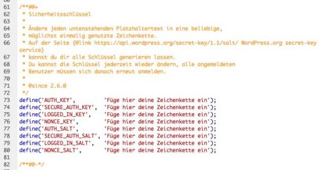 Wordpress installieren mit Sicherheitscodes