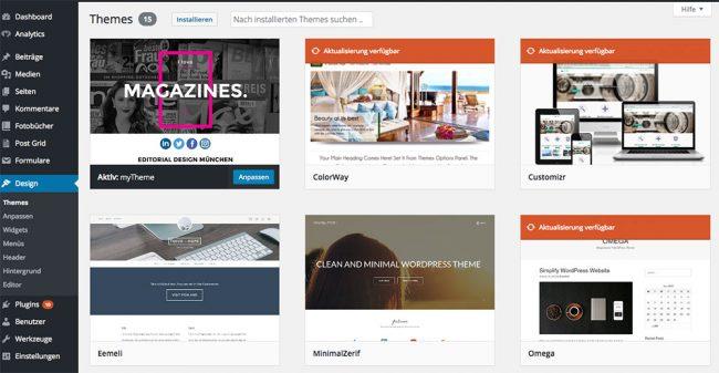 Wordpress Theme installieren über das Dashboard